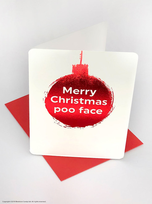 Poo Face (Red Foiled) Christmas Card