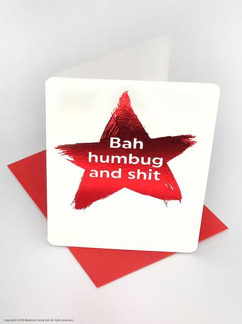 Bah Humbug (Red Foiled) Christmas Card