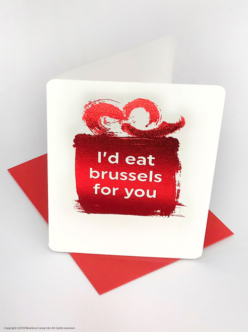 Eat Brussels For You (Red Foiled) Christmas Card