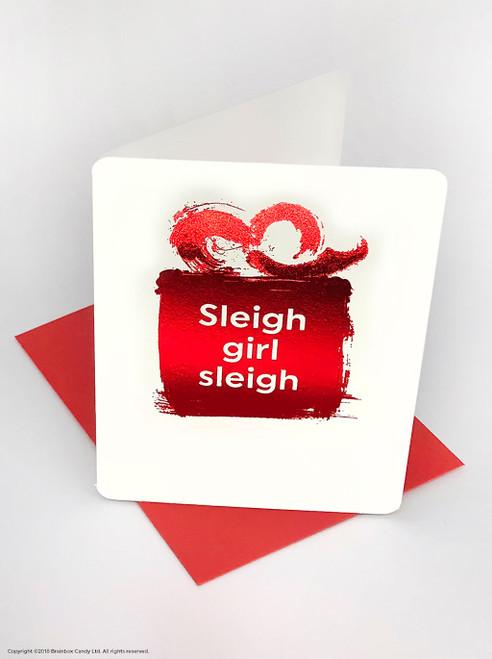 Sleigh Girl Sleigh (Red Foiled) Christmas Card