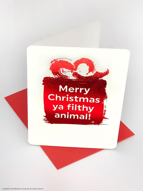 Filthy Animal (Red Foiled) Christmas Card