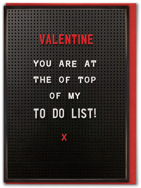 To Do List Valentine's Day Card