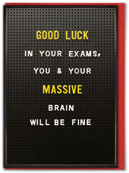 Good Luck Exams Massive Brain Card