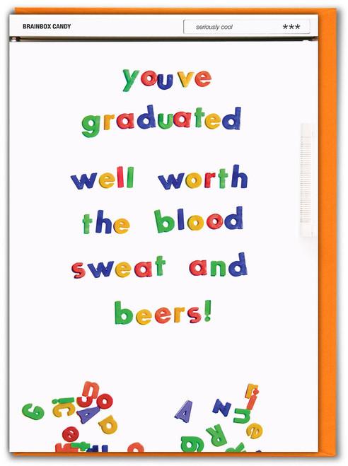 Graduation Blood Sweat Beers Card