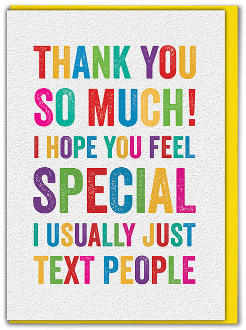 Usually Just Text Thank You Card