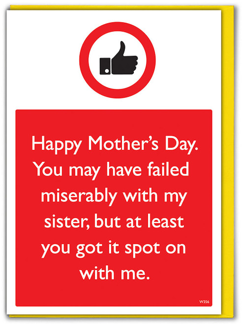 Sister Spot On With Me Mother's Day Card