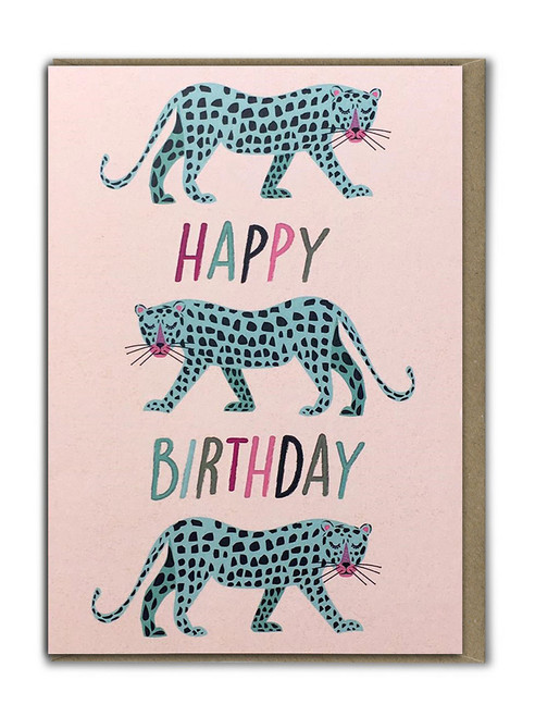 Blue Leopards Birthday Card