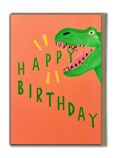 Fab Neon Birthday Dinosaur Card