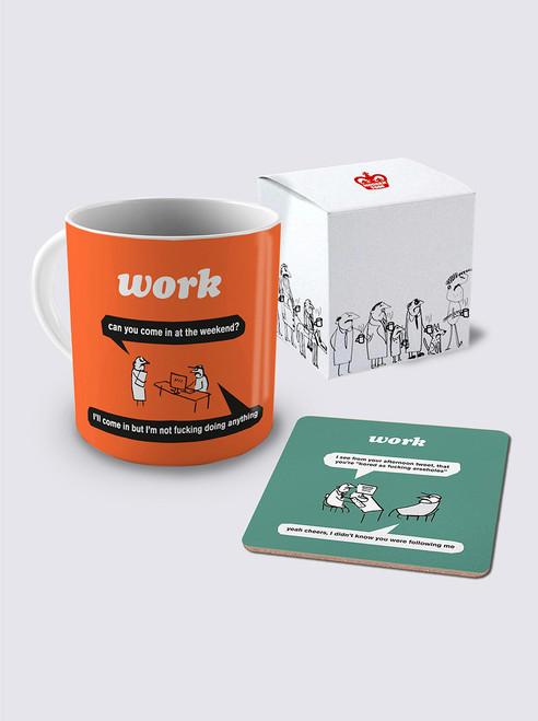 Work At Weekend Mug & Coaster Set