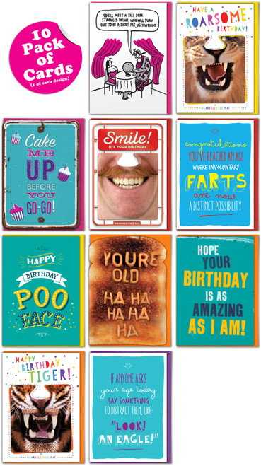 Bundle Pack - 10 Funny Greeting Cards - Mixed Designs