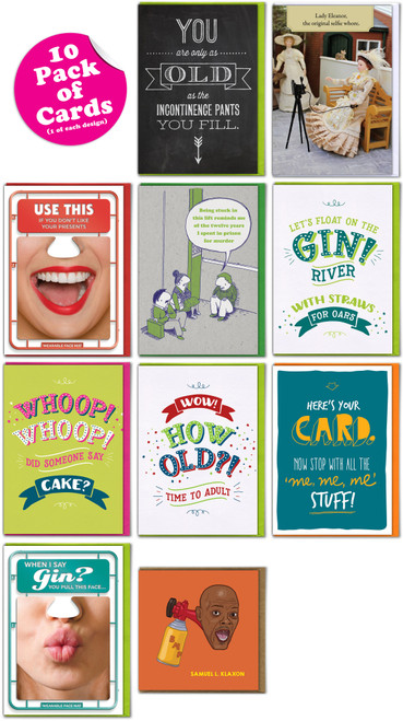 Multipack - 10 Funny Greeting Cards - Mixed Designs