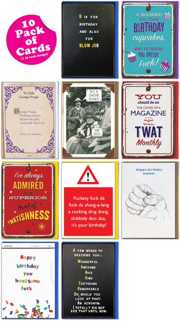 10 Funny Rude Greeting Cards - Mixed Designs