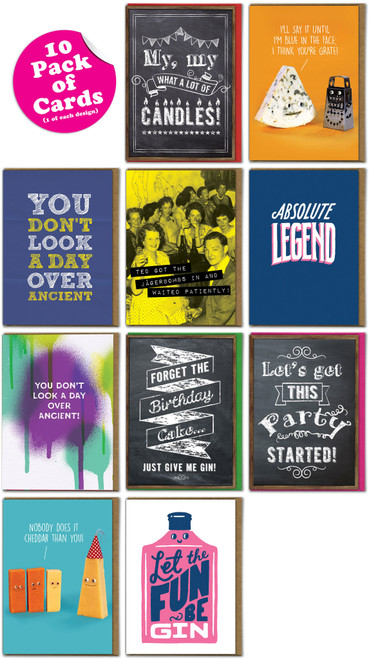Multipack of 10 Funny Greeting Cards - Various Designs