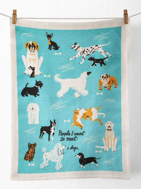 People I Love To Meet Dogs Tea Towel