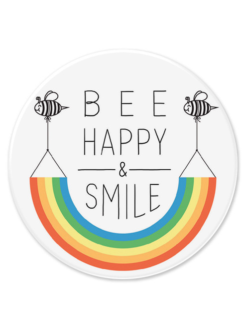 Be Happy And Smile 77mm Large Pin Badge