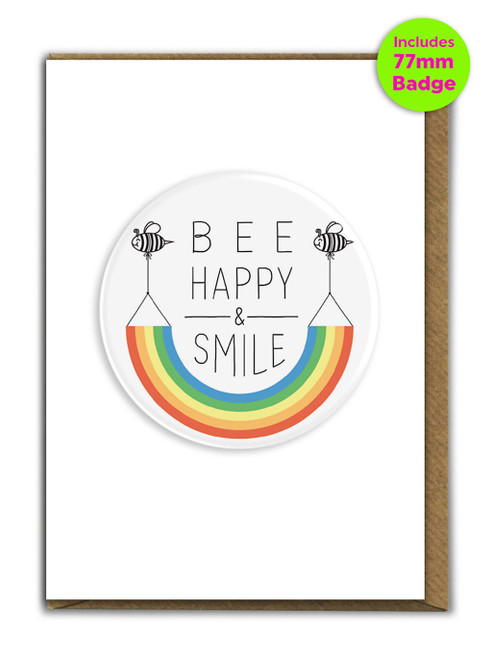 Be Happy And Smile A6 Card and 77mm Badge