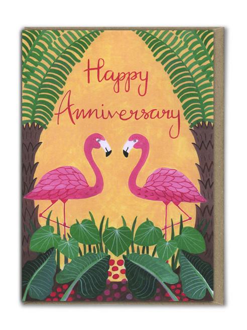 Happy Anniversary Flamingo Card