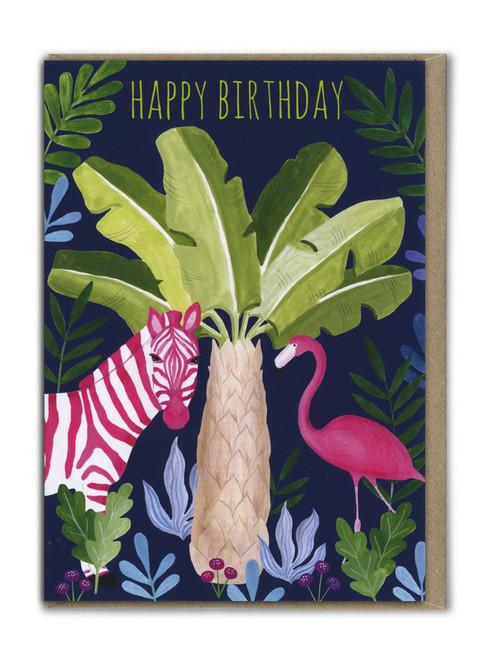 Happy Birthday Zebra and Flamingo Card