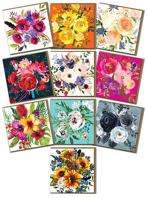 10 pack of Les Fleurs Floral/Colourful/Bright Greeting Cards