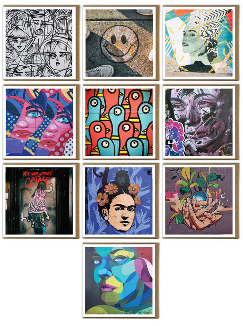 Street Art | Graffiti | Pack of 10 | Blank Greeting Cards | Multipack