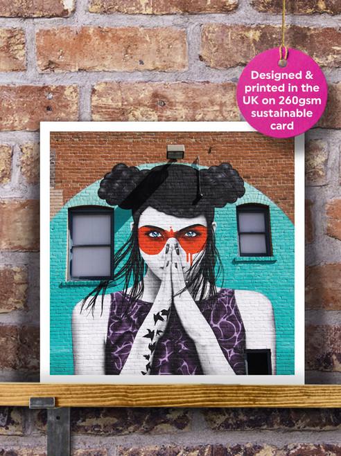 Street Art | Graffiti | Masked Lady Mural Blank Greeting Card