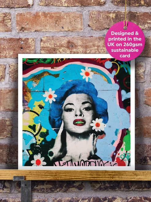 Street Art | Graffiti | Lady Blue Mural Blank Greeting Card