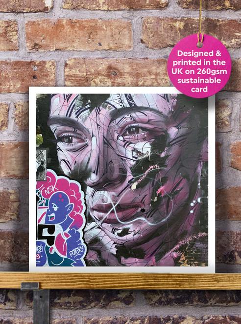 Street Art | Graffiti | Pink Lady Mural Blank Greeting Card