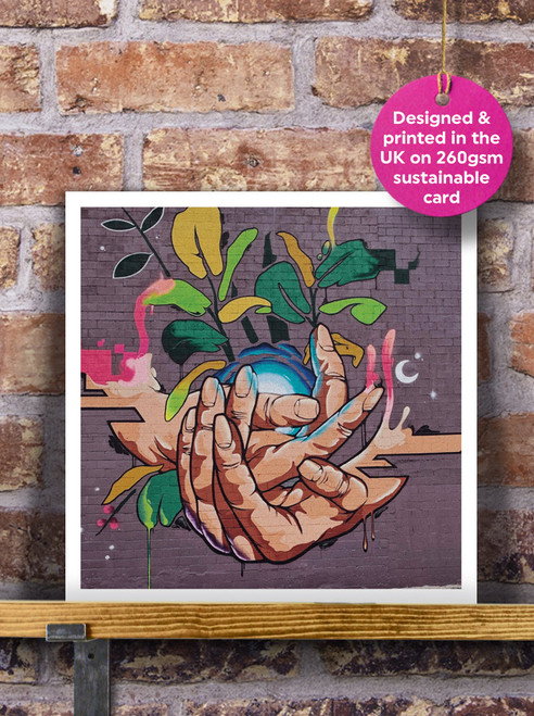 Street Art | Graffiti | Hands Mural Blank Greeting Card