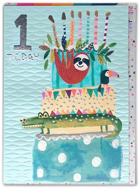 Age 1 Birthday Card Blue Sloth