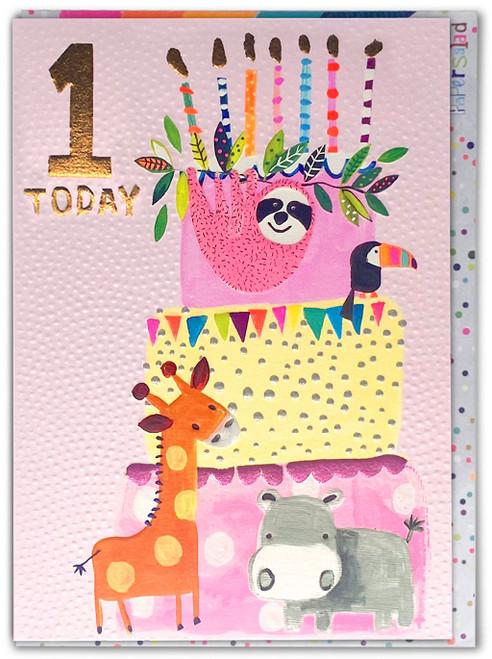 Age 1 Birthday Card Pink Sloth