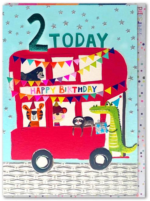 Age 2 Birthday Card London Bus
