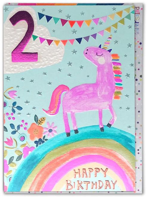 Age 2 Birthday Card Unicorn