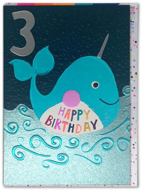 Age 3 Birthday Card Whale