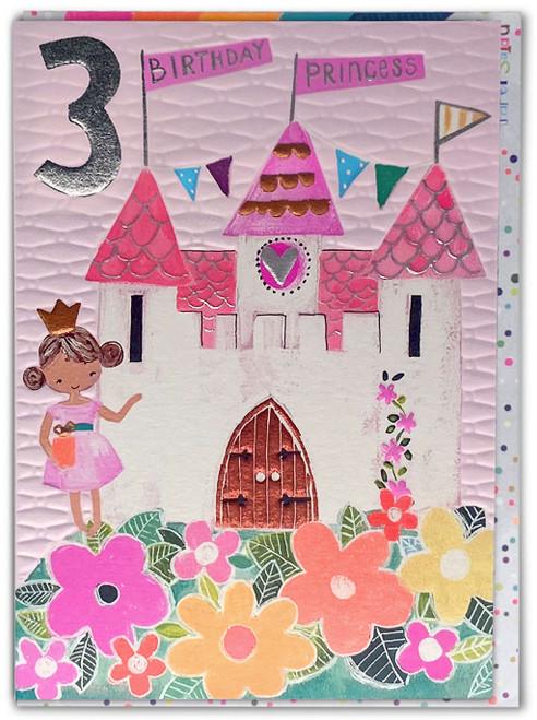 Age 3 Birthday Card Princess