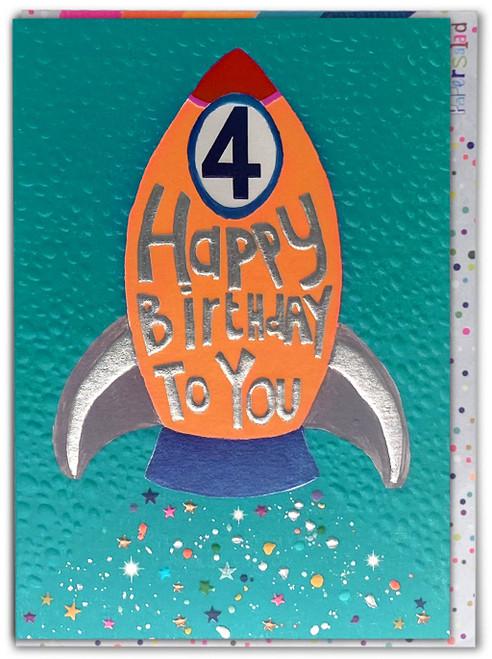 Age 4 Birthday Card Rocket