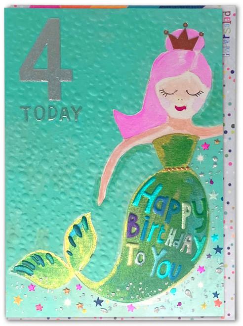 Age 4 Birthday Card Mermaid