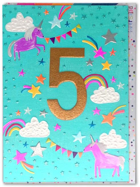 Age 5 Birthday Card Unicorns