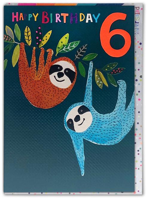 Age 6 Birthday Card Sloths