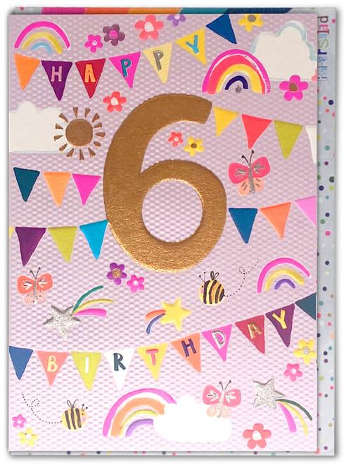 Age 6 Birthday Card Pink Bunting