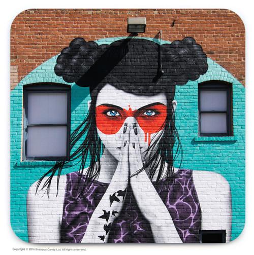 Masked Lady Street Art Graffiti Coaster