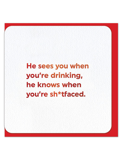 He Sees You (Red Foiled) Christmas Card
