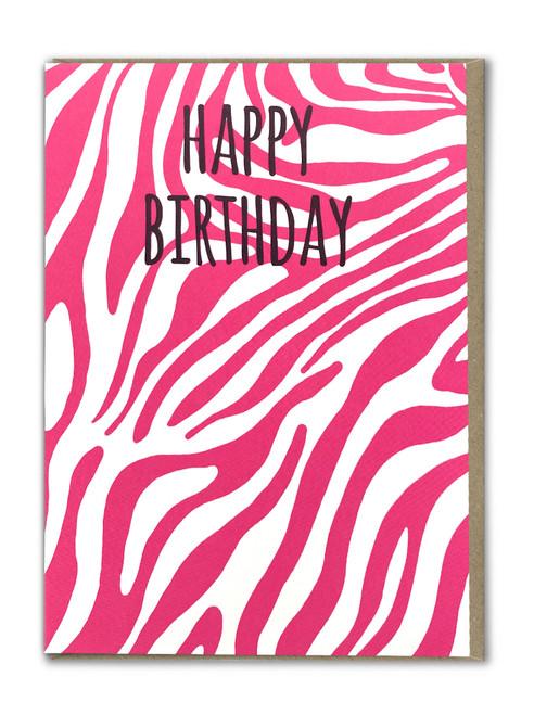 Pink Zebra Print Happy Birthday Card