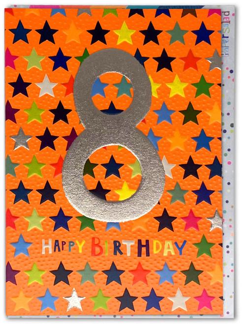 Age 8 Birthday Card Stars