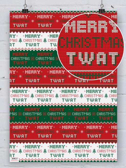 Merry Christmas Twat Gift Wrap