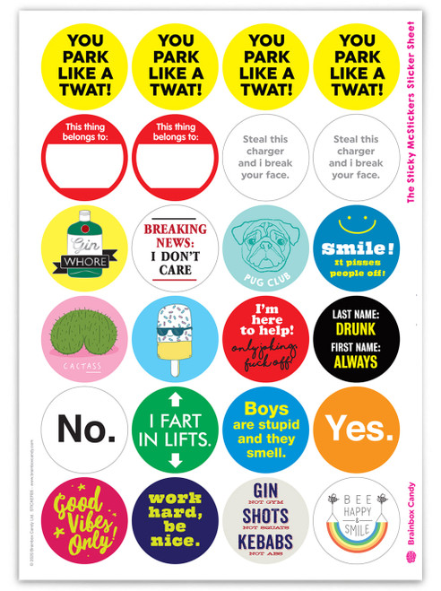 Set of 24 Funny Stickers