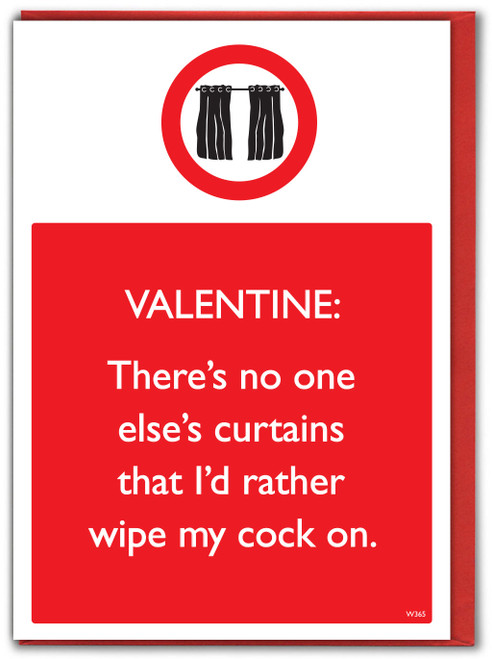 Wipe Your Cock On The Curtains Rude Valentines Card