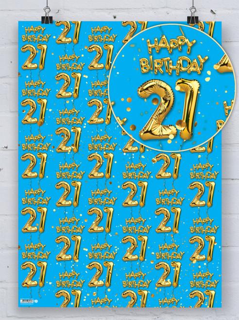 21st Birthday Gold Balloon Blue Gift Wrap