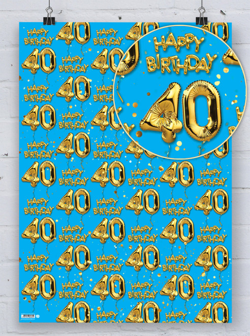 40th Birthday Gold Balloon Blue Gift Wrap