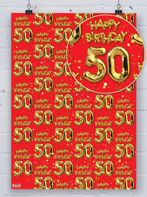 50th Birthday Gold Balloon Red Gift Wrap