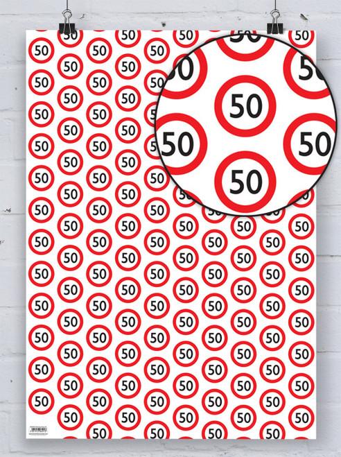 50th Birthday Warning Gift Wrap
